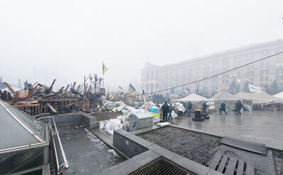 Donald Weber, 'From the series Architecture of Siege (Barricade), Maidan Nezalezhnosti, Globus Entrance', 2014