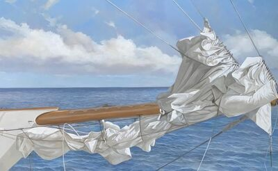 "Michel Brosseau, '""Tied at Sea"" photorealistic oil painting of a folded sail and blue ocean', 2019"
