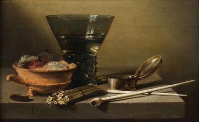 Pieter Claesz, 'A Toebackje: a Still Life with a Berkemeier, Matches, clay Pipes, a Tobacco Box, and a Brazier', 1638