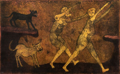 Rufino Tamayo, 'Two People Attacked by Dogs / Dos personas atacados por perras', n.d.