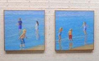 Willard Dixon, 'TEAM No. 1 and No. 2 / two 30 X 30 inch paintings - children playing at beach', 2019