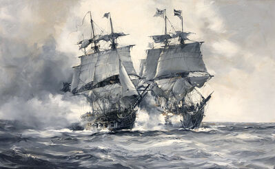 Montague Dawson, 'A Sea Battle'