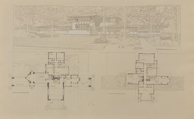 Frank Lloyd Wright, 'Ward W. Wilitt's ground plan and perspective of villa, Highland Park, IL; Plate XXV from the Wasmuth Portfolio', 1910
