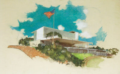 Richard Neutra, 'Perspective Elevation, Monterey Park City Hall, Monterey Park, CA', ca. 1955