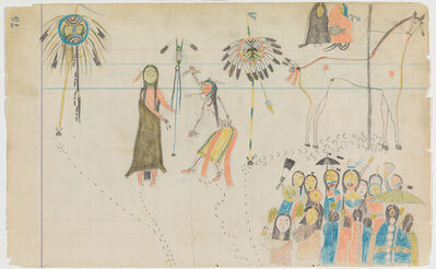 """Attributed to Arapaho Artist A, 'Ledger Drawing """"Ghost Dance""""', ca. 1880"""