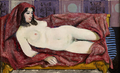 William Crosbie, 'Nude Lying Down on a Red Drape', 1995