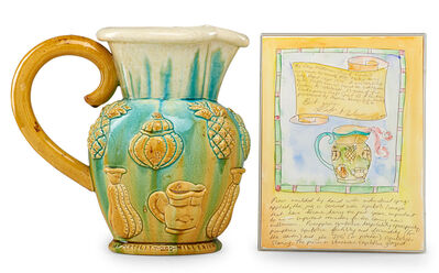 "Kate Malone, 'Large pitcher with original drawing (framed), ""The Large Millennium Jug of Symbols,"" England', 1999"
