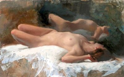Michael Alford, 'Sleeping Nude, Warm Light - female figurative painting', 2020