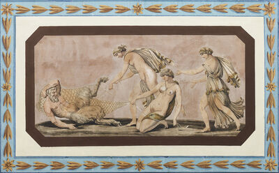 Unknown, 'Italian Panel with Satyr and Nymphs', ca. 1800