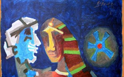 M. F. Husain, 'Untitled (Heads - Blue)', 1970