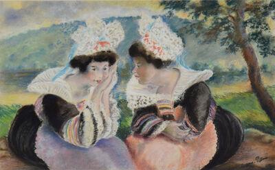 George Manzana-Pissarro, 'River landscape with two Bretonnes women', Executed circa 1930