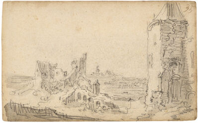 Jan van Goyen, 'Kleve: the tower and city wall with ruins of the Cowdeer tower', 1650