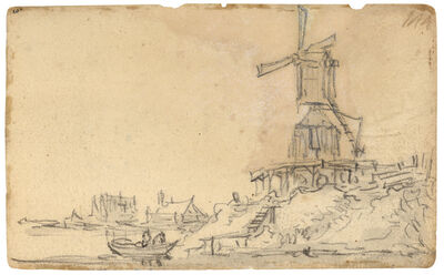 Jan van Goyen, 'Windmill on a dike on the right river bank (recto) Seven merchants with wire baskets and a man on the right (verso)', 1650-1651