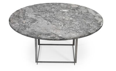 Poul Kjærholm, 'PK 54. Dining table with cubus frame of matte chromed steel. Circular top of flintrolled Porsgrunn marble with fossils. Later six-piece addition ring of solid maple with stand included.'