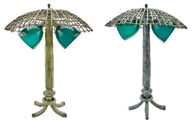 Louis Cane, 'Two Louis Cane Green Patinated-Bronze Tree Form Lamps', 1990s