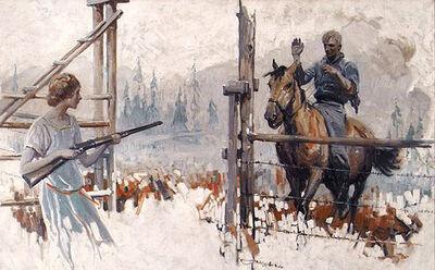 Herbert Morton Stoops, 'Woman holding Gun and Greeting Man on Horseback', 1925