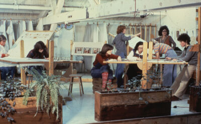 "Judy Chicago, 'Judy Chicago and Others Working in ""The Dinner Party"" Needlework Loft', 1978"