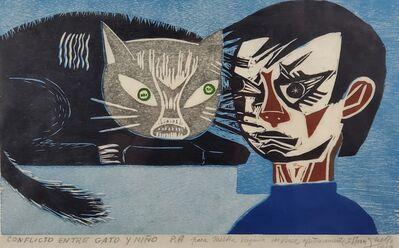 Francisco Amighetti, 'Conflicto entre gato y niño ', 1969