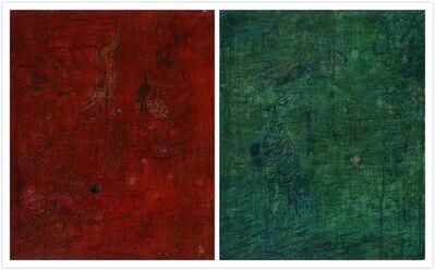Wang Yabin, 'Green Landscape, Bird and Red Lion', 2002
