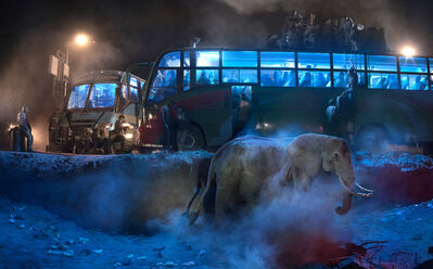 Nick Brandt, 'BUS STATION WITH ELEPHANT IN DUST', 2018
