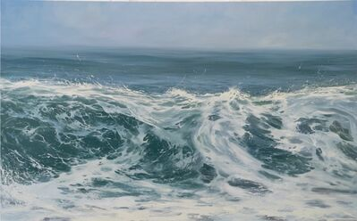 "Annie Wildey, '""Morning Breaker"" Oil painting of cresting wave in blues and greens', 2010-2018"