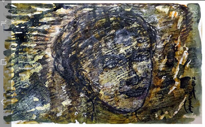 "Jayashree Chakravarty, 'Face, Painting, Oil on paper, Brown, Black, Yellow by Indian Artist ""In Stock""', 2017"