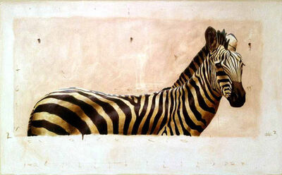 "Santiago Garcia, '""Andante #3"" oil painting of Zebra in Neutral Colors with exposed canvas', 2010-2018"