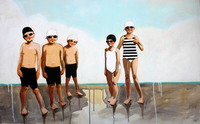 """Debbie Miller, '""""Current Mood"""" oil painting of boys and girls in black and white and striped swimsuits', 2019"""