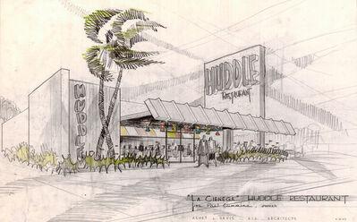 "Louis Armét, Eldon Davis, '""La Cienega"" Huddle Restaurant, Alternative Perspective View, Beverly Hills, CA, Architects Armét & Davis A. I. A. Architects', 1953"
