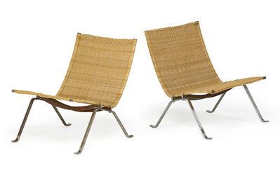 Poul Kjærholm, 'Pair of PK22 lounge chairs', 1980s