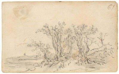Jan van Goyen, 'Trees with a windmill in the distance', 1650