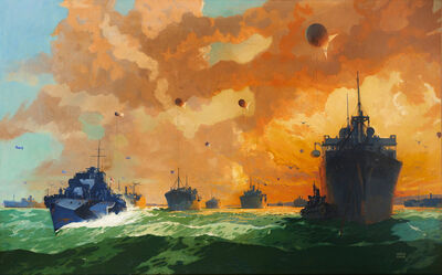 Leslie Carr, 'Merchant Ships Tethered with Barrage Balloons, and a Dazzle Camouflage Destroyer', 1940