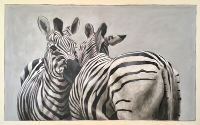 "Santiago Garcia, '""Andante #101"" oil painting of black and white zebras embracing', 2018"