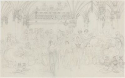 Rodolphe Bresdin, 'Interior: Dancing Girls Entertaining Chieftains', probably c. 1870