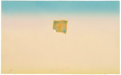 Joe Goode, 'Untitled (small orange photo on peach and blue background)', 1971