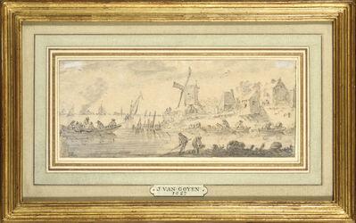 Dutch School, 'Barques de pêcheurs près d'un moulin'