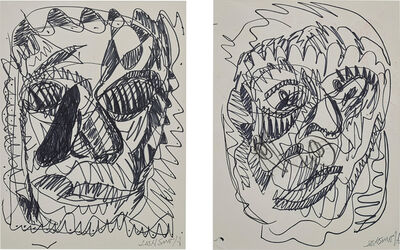 Josh Smith, 'Two works: i) Untitled (Portrait of a woman); ii) Untitled (Portrait of a man)'