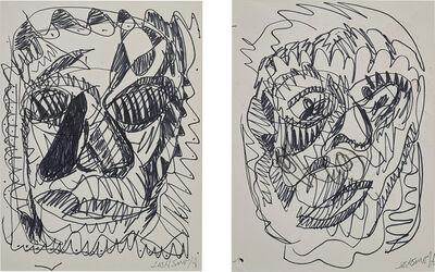 Josh Smith (b.1976), 'Two works: i) Untitled (Portrait of a woman); ii) Untitled (Portrait of a man)'
