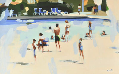 """Elizabeth Lennie, '""""Resort Life"""" Oil painting of people by a pool in pale blue and off white', 2019"""