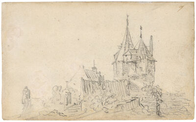 Jan van Goyen, 'A small castle with two towers', 1650