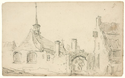 Jan van Goyen, 'Village church with turret, arched gateway and a house', 1650