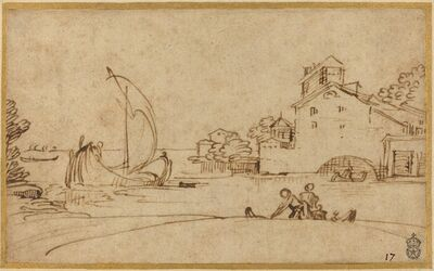 Annibale Carracci, 'Landscape with Figures by an Estuary with Sailing Boats', ca. 1590/1595