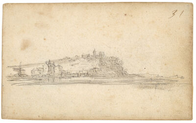 Jan van Goyen, 'View on the Abbey: the hill of Eltenberg and the castle at Lobith (recto); A sailboat on the water (verso)', 1650