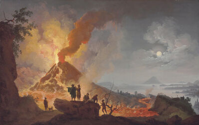 Pierre-Jacques Volaire, 'Mount Vesuvius erupting by night seen from the Atrio del Cavallo with spectators in the foreground, a panoramic view of the city and the Bay of Naples beyond'