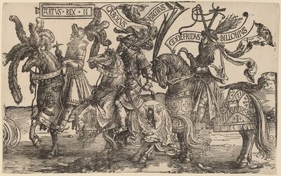 Lucas van Leyden, 'Arthur, Charles the Great (Charlemagne), Godfry of Bouillon', 1515/1517