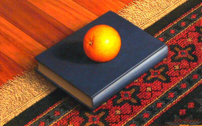 Frank Holmes, 'Orange on Book on Rug'