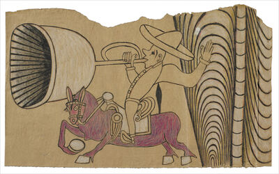 Martín Ramírez, 'Untitled (Horse and Rider with Bugle)', c. 1960-63