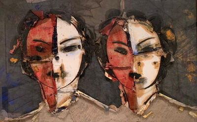 Manolo Valdés, 'Doble imagen sobre fondo gris', 2008