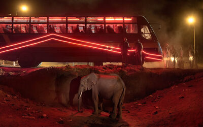 Nick Brandt, 'Bus Station with Elephant & Red Bus', 2018