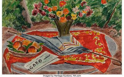 André Dunoyer de Segonzac, 'Table au vase de fleurs, aux peches, au Le Figaro et a l'ombrelle'